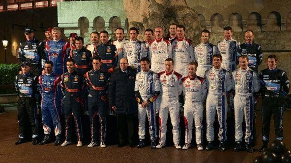 Los pilotos del WRC 2014 posaron juntos anoche en Monte Carlo
