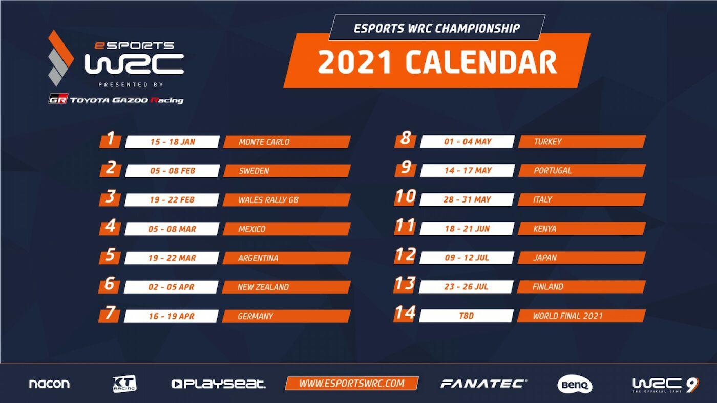eSports WRC 2021 calendar revealed