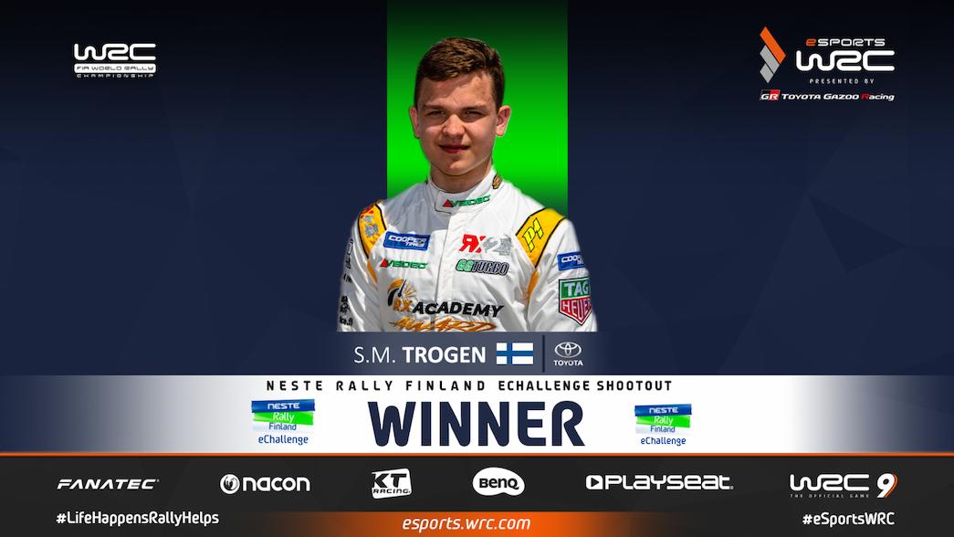 Trogen crowned Neste Rally Finland eChallenge Shootout Champion