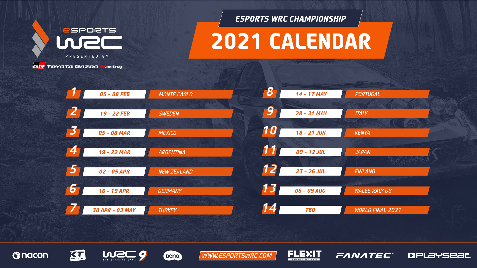 Image result for WRC 2021 calendar
